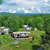 aerial view of campers at campsite