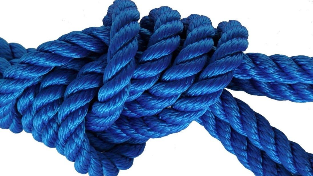 blue rope tied in a simple knot
