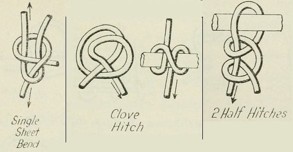 three knots: clove hitch, half hitch, sheet bend